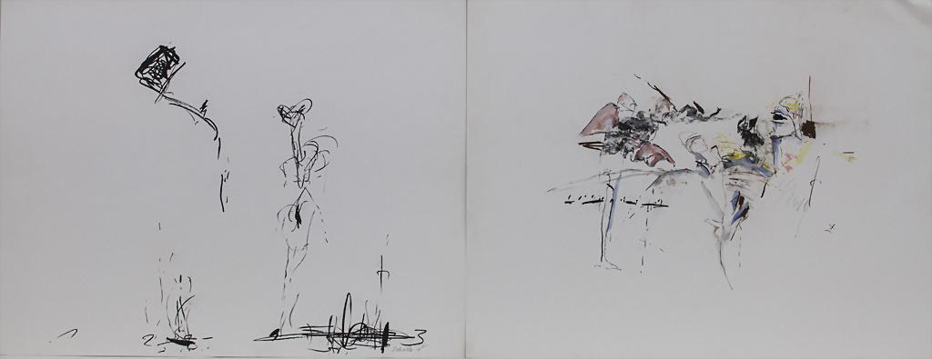 Egon Schrick (*1935), 2 Kreidezeichnungen 'Ohne Titel 1' und 'Ohne Titel 2...